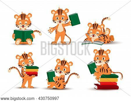 A Little Tiger Cub Reads A Book. Set Of Isolated Figurines Of A Tiger Cub. Vector, Illustration, Car
