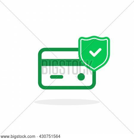 Green Secure Payment Icon With Shield. Flat Trend Modern Simple Approve Logotype Graphic Design Isol