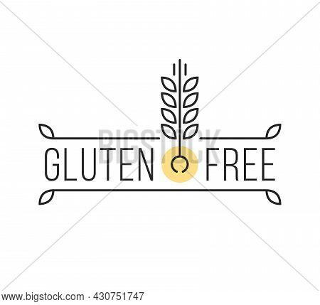 Minimal Thin Line Gluten Free Seal. Concept Of Healthy Eating For People With Gluten Intolerance. Si