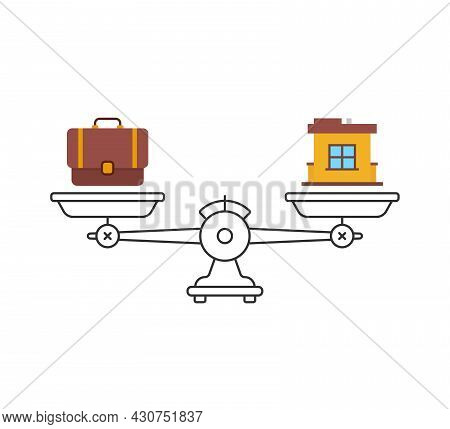 Balance Between Family And Career. Flat Stroke Style Trend Modern Graphic Art Design Isolated On Whi