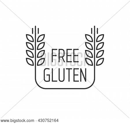 Black Thin Line Gluten Free Emblem. Flat Lineart Trend Modern Organic Food Logotype Stroke Graphic A