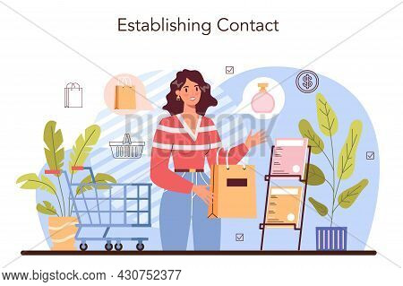 Commercial Activities Process. Establishing A Contact With A Customer