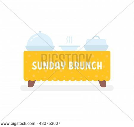 Side View Table Like Sunday Brunch. Cartoon Flat Style Trend Modern Graphic Art Design Element Isola