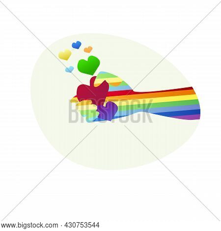 Conceptual Vector Illustration Of The Lgbt Community. A Rainbow-colored Hand Holding Multicolored He