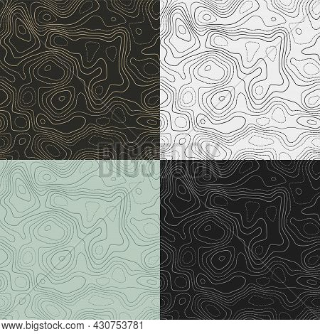 Topography Patterns. Seamless Elevation Map Tiles. Artistic Isoline Background. Captivating Tileable
