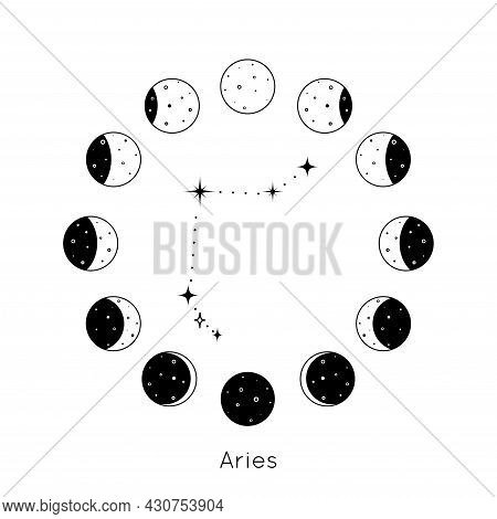 Aries Zodiac Constellation Inside Circular Set Of Moon Phases. Black Outline Silhouette Of Stars. Ve