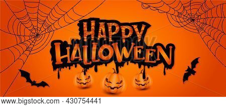 Happy Halloween Banner With Pumpkins, Bats And Spiders Web. Vector Illustration