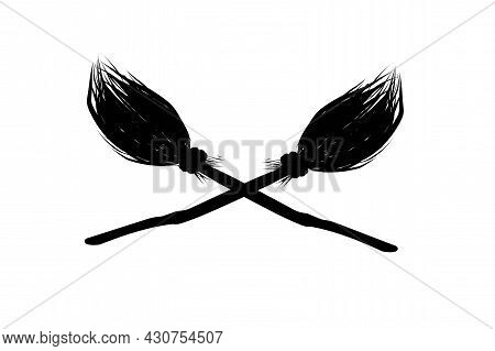 Flying Broom. Broom. Magic And Witchcraft Logo. A Magical Item. Vector Illustration. Isolated On Whi