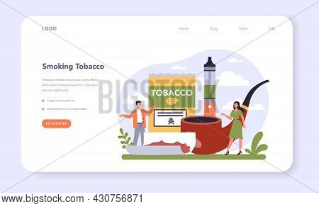Tobacco Production Industry Sector Of The Economy Web Banner Or Landing Page