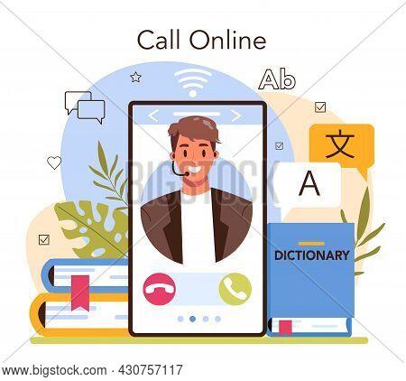 Translator Online Service Or Platform. Linguist Translating Text