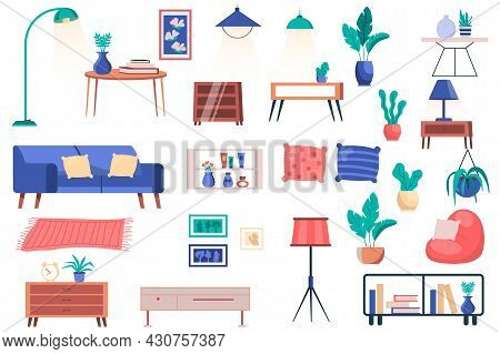 Furniture, House Plants And Decor Isolated Elements Set. Bundle Of Sofa With Pillows, Tables, Lamps,