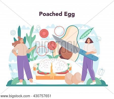 Tasty Fried Eggs With Vegetables And Bacon For Breakfast Set. Scrambled, Fried