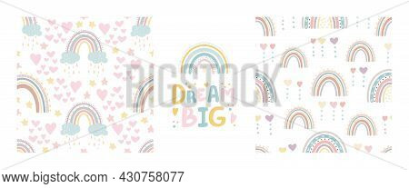 Cute Rainbow Seamless Patterns And Lettering - Enjoy Every Moment . Digital Papper. Creative Childis