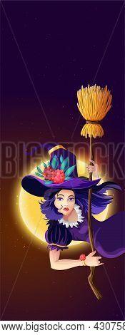 Vertical Halloween Greeting Postcard With Halloween Night, Shining Moon, Night Stars And Beautiful W