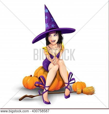 Halloween Beautiful Witch Sits On A Pumpkin And Laughs. Halloween Backgrounds Collection. Halloween