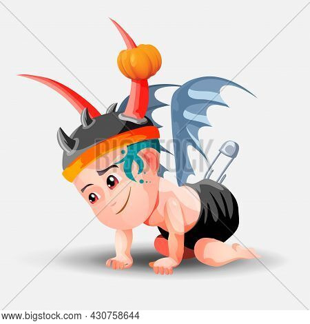 A Demonic Baby In A Hat With Horns And A Black Diaper Is Crawling On The Floor. Little Boy Dressed F