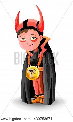 Boy Dressed As Count Dracula Or Demon Or Horned Devil. A Boy In A Black Cloak And Horns. Boy Dressed