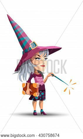 A Beautiful Witch In A Long Hat And With A Book And A Magic Wand In Her Hand. Girl Dressed As A With