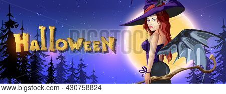 Collection Halloween Horizontal Greeting Banner With Halloween Night, Shining Moon And Beautiful Wit