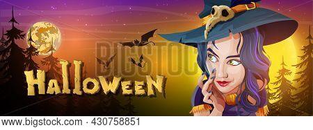 Collection Halloween Horizontal Greeting Banner With Halloween Night, Shining Moon, Night Stars, Fly