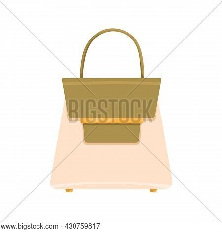Trapeze Women Handheld Bag With Single Handle. Fashion Flap Handbag From Glossy Leather With Gold Cl