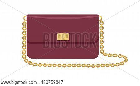 Modern Flap Clutch With Gold Chain Strap And Twist Lock. Women Fashion Small Purse Bag. Elegant Styl