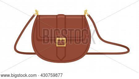 Women Fashion Crossbody Saddle Bag With Shoulder Strap. Modern Small Leather Flap Handbag With Golde