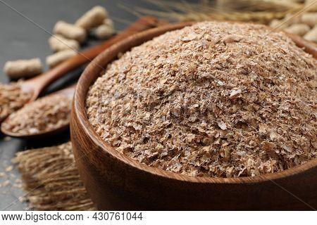 Wheat Bran In Bowl On Table, Closeup