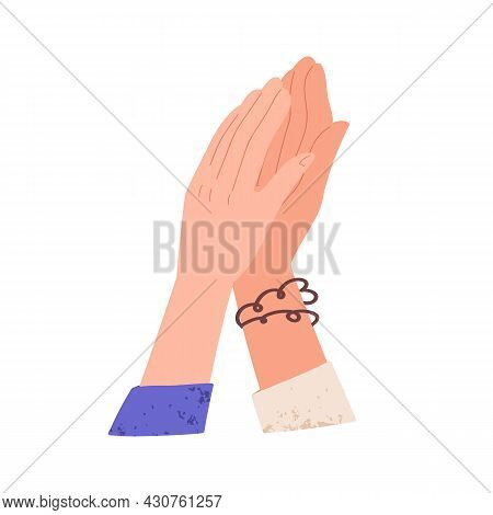 Women Clapping Hands Giving High Five, Gesturing Hi. Concept Of Support, Success And Achievement. Fr