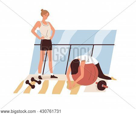 Tired Exhausted Woman During Workout In Gym. Weak Lazy Apathetic Person Feeling Sick And Fatigue At