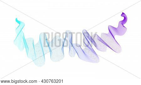 Abstract Backdrop With Blue Wave Gradient Lines On White Background. Modern Technology Background, W