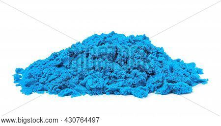 Pile Of Blue Kinetic Sand On White Background