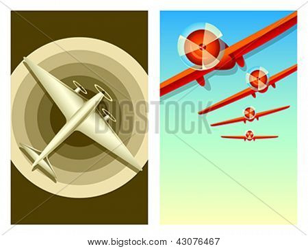 Retro aviation travel posters with copy-space