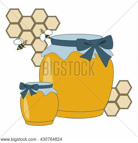 Color Composition Consisting Of Honeycombs And Honey Bees And 2 Jars Of Honey. Vector Illustration