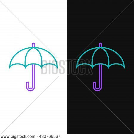 Line Umbrella Icon Isolated On White And Black Background. Insurance Concept. Waterproof Icon. Prote