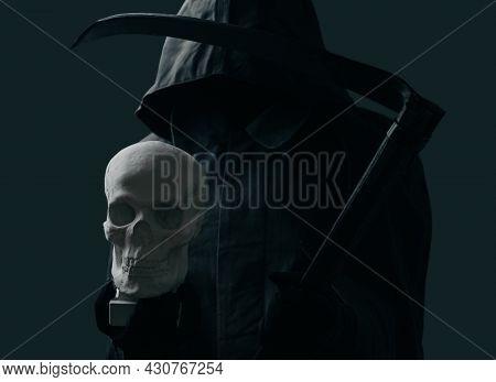 Dark Grim Reaper Wearing In A Black Cloak With A Hood.