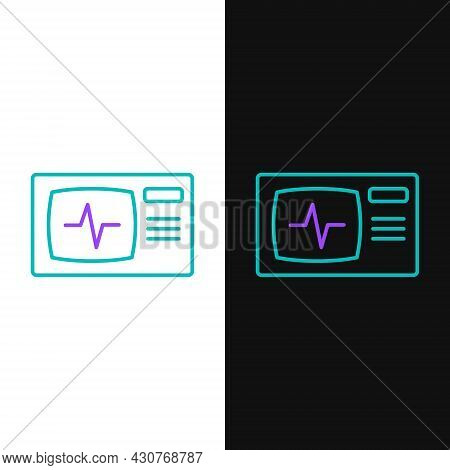 Line Computer Monitor With Cardiogram Icon Isolated On White And Black Background. Monitoring Icon.