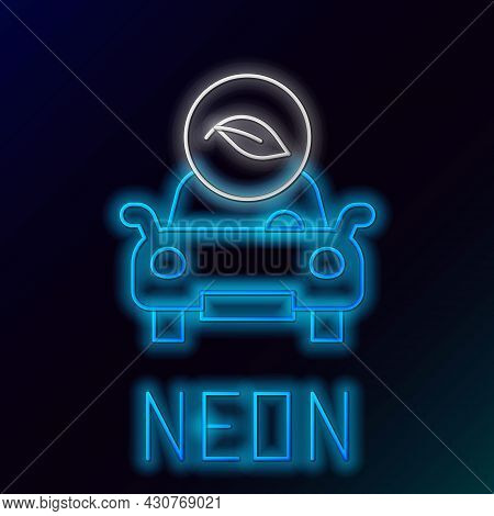 Glowing Neon Line Eco Car Concept Drive With Leaf Icon Isolated On Black Background. Green Energy Ca
