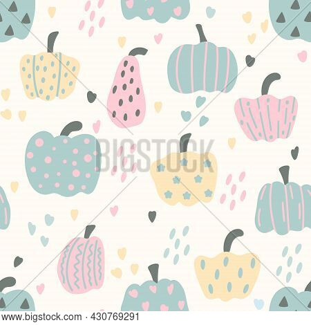 Seamless Pattern With Autumn Pumpkins Vector Illustration. Background With Fall Vegetables Of Differ