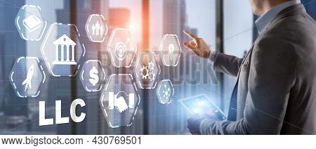 Limited Liability Company Concept. Businessman Touched Llc On Virtual Screen