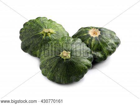 Fresh Ripe Green Pattypan Squashes On White Background