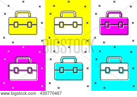 Set Toolbox Icon Isolated On Color Background. Tool Box Sign. Vector