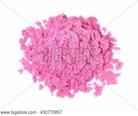 Pile Of Pink Kinetic Sand On White Background, Top View