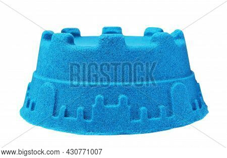 Tower Made Of Kinetic Sand On White Background
