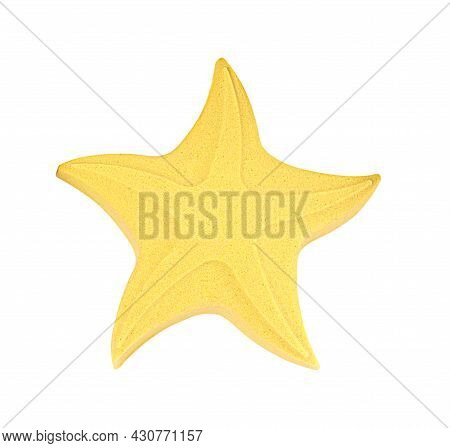 Star Made Of Kinetic Sand On White Background, Top View