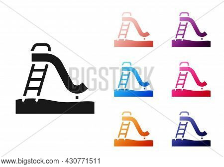 Black Kid Slide Icon Isolated On White Background. Childrens Slide. Set Icons Colorful. Vector