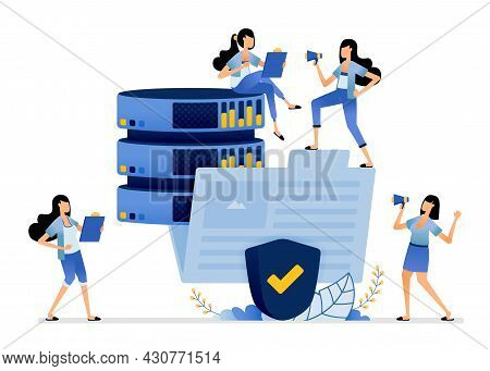 Illustration Of Big Data Database Organized In Folders Protected By Security System. Vector Design C