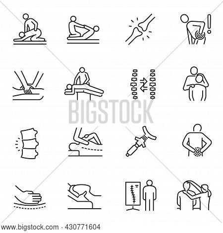 Monochrome Chiropractic Icon Set Vector Physical Injury Or Chronic Disease Massage Treatment