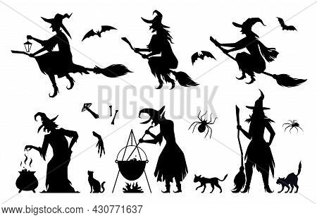Set Silhouettes Of Witches In Black Ragged Dress Vector Flat Illustration. Halloween Scary Bat, Cat