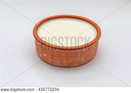 Greek Style Yogurt In Terracotta Ramekin Bowl